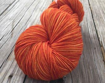hand dyed sock weight yarn Lusty Wench Orange Shawl Length Superwash Merino Cashmere Nylon 600 yards ready to ship yarn pumpkin tangerine
