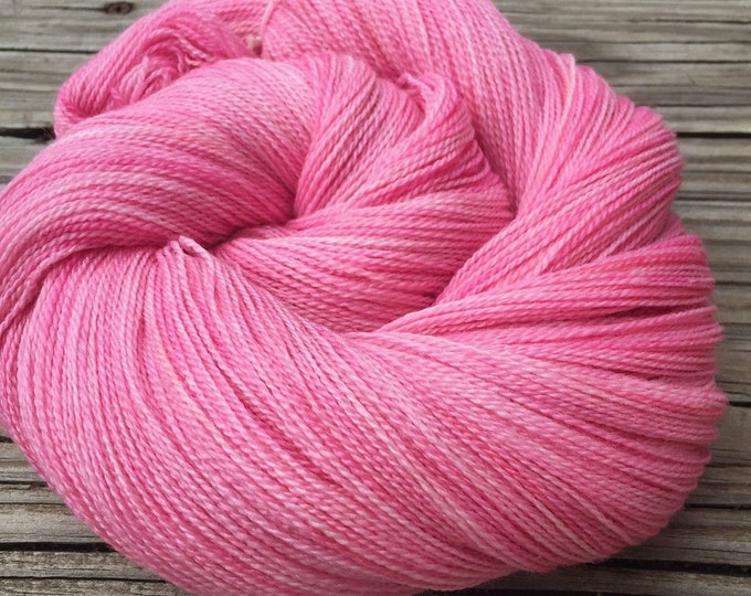 hand dyed lace weight yarn Damsel in Distress pink Silk Treasures Lace merino silk 875 yards hand dyed yarn bubblegum ready to ship yarn