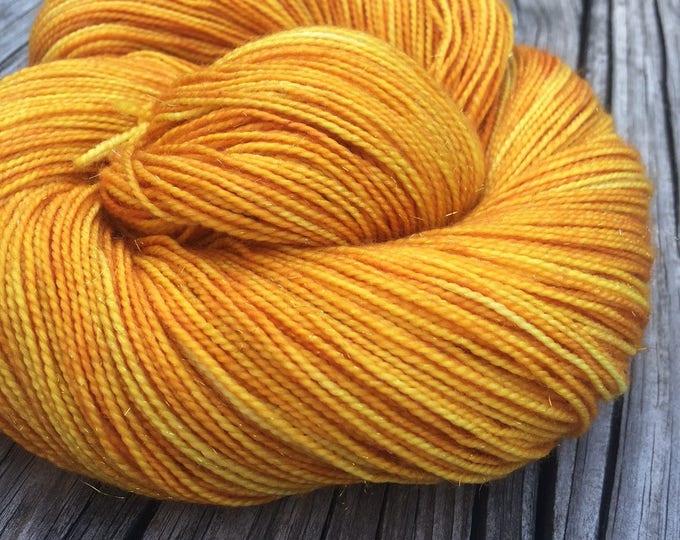 Sparkle Sock Yarn Poseidon's Trident goldenrod yellow 438 yards superwash merino nylon stellina fingering swm gold ready to ship yarn