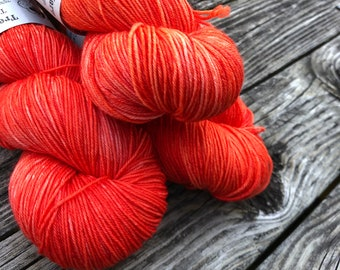 Polly Want a Cracker Hand Dyed Sock Weight Yarn Sock Yarn Treasured Toes superwash merino nylon 463 yards fingering orange coral