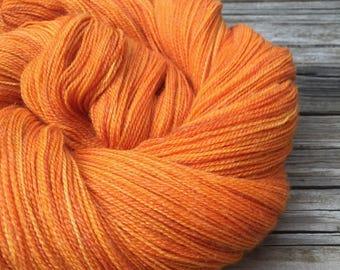 hand dyed lace weight yarn Lusty Wench Bamboo Treasures Lace yarn orange merino bamboo yarn pumpkin tangerine mango 875 yards