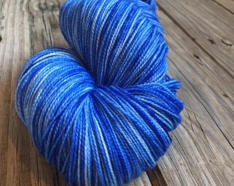 hand dyed Swimming with the Fishes Royal Blue Sky Blue Shawl Length Super Skein Superwash Merino Cashmere MCN 600 yards swm ready to ship