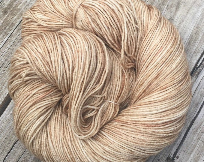 Hand Dyed Sock Yarn Sandy Beach Hand Painted sockyarn 463 yards superwash merino nylon fingering weight tan cream creme neutral khaki brown
