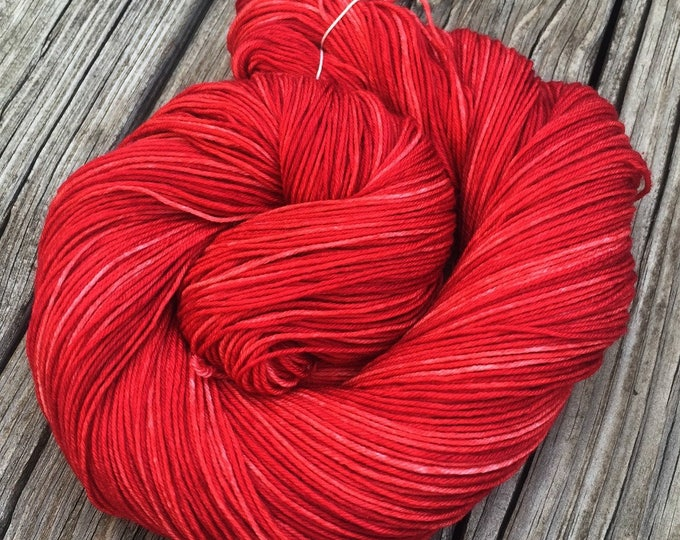 Hand Dyed Sock Yarn Captain Blood Red 463 yards hand dyed Crimson Maroon fingering weight Treasured Toes ruby swm ready to ship yarn