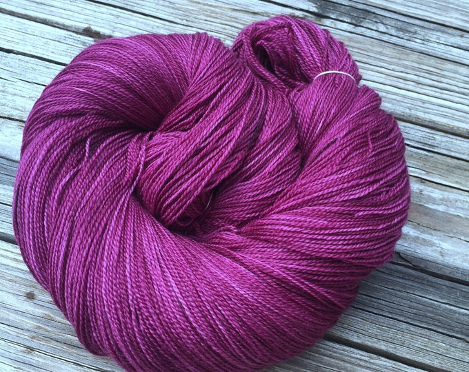 Song of the Sirens hand dyed lace weight yarn Silk Treasures merino semisolid lace yarn 875 yards cranberry magenta maroon ready to ship