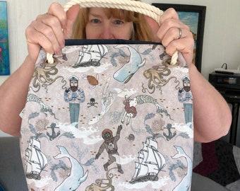 Sea Captain, Extra Large Project Bag, lined bag, rope handled craft bag, knitting bag, crochet bag