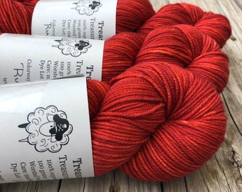 red Hand Dyed Worsted Weight Yarn, Ruby Daggers, Treasured Warmth