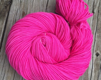 Feminist Pirette Pink Hand Dyed Pink Worsted Weight Yarn 218 yards Superwash Merino Wool swm bright pink pussy hat yarn ready to ship yarn