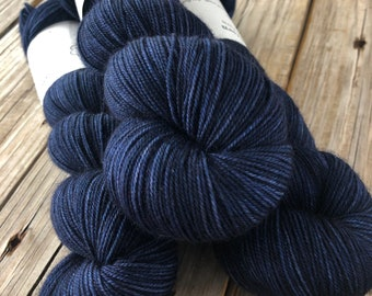 Hand Dyed Sock Yarn, navy blue, Fathoms Deep, Treasured Toes