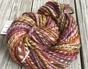 Secret Iris Garden Handspun yarn Soft Polwarth Wool Yarn Bulky Weight pink lilac spring green purple orange Two Ply 2 Ply 60 yards