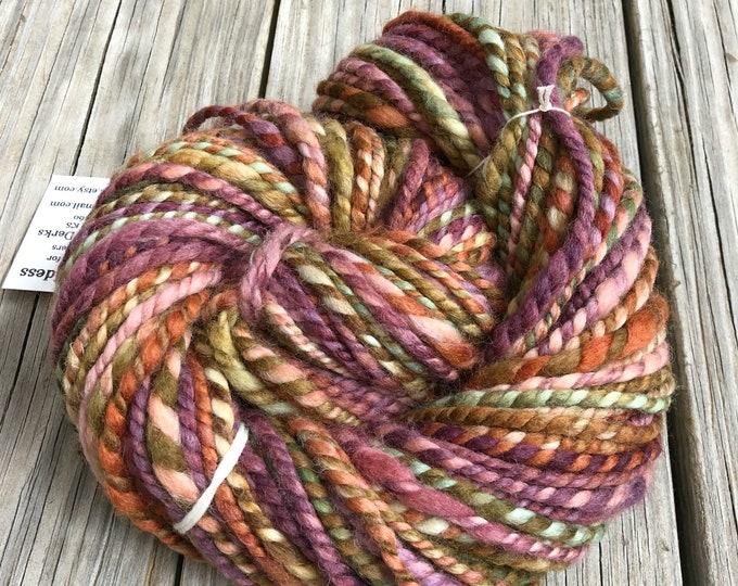 Secret Iris Garden Handspun yarn Soft Polwarth Wool Yarn Bulky Weight pink lilac spring green purple orange Two Ply 2 Ply 60 yards