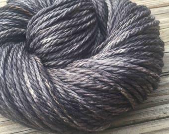 Hand Dyed Bulky Yarn Ghost Ship Gray yarn 100% superwash merino wool 106 yards black charcoal gray grey bulky weight yarn treasure goddess