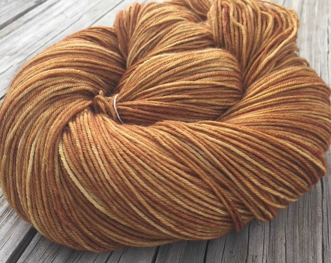 Hand Dyed Sock Yarn Why is the Rum Gone Hand Painted sockyarn 463 yards superwash merino nylon copper orange rust fingering Treasured Toes