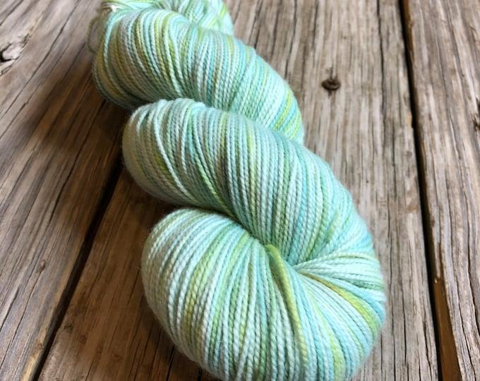 Hand Dyed Sock Yarn Sea Glass OOAK Hand Painted pastel blue green 436 yards fine merino fingering weight