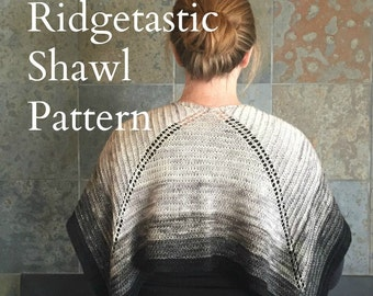 PDF Ridgetastic Shawl Knitting Pattern Sock Yarn Digital Download silver gray grey fingering weight yarn gradient mini skein pdf fiberterian