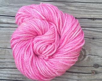 Hand Dyed Bulky Yarn Damsel in Distress bubblegum pink superwash merino wool 106 yards baby pink rose bulky chunky ready to ship yarn