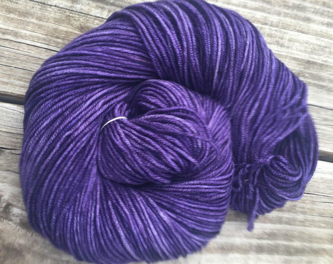 Hand Dyed DK Yarn the King's Cloak Royal Dark Purple ready to ship yarn 274 yards handdyed dk sport weight superwash merino wool amethyst
