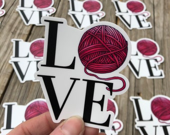 Yarn Love Sticker, Yarn Sticker, Vinyl Sticker, Water-proof Sticker, Knitting Sticker, Crochet Sticker, Laptop Decal