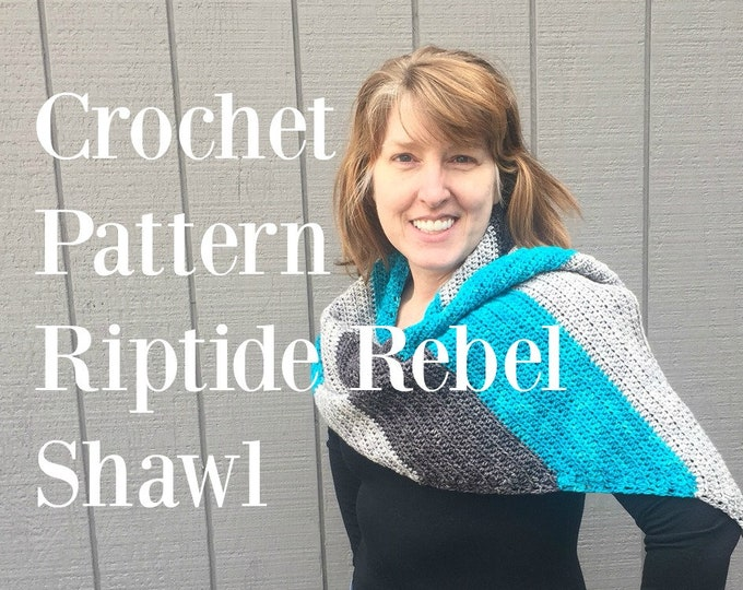 Crochet Shawl Pattern PDF Riptide Rebel Asymmetrical Chevron DK Yarn Digital Download silver treasuregoddess silver gray grey turquoise swm