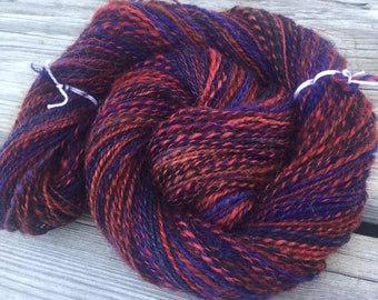 Depth of Love Handspun Yarn Sport Weight 2 ply wool yarn FiberTerian 138 yards red rust electric blue brown black ready to ship yarn
