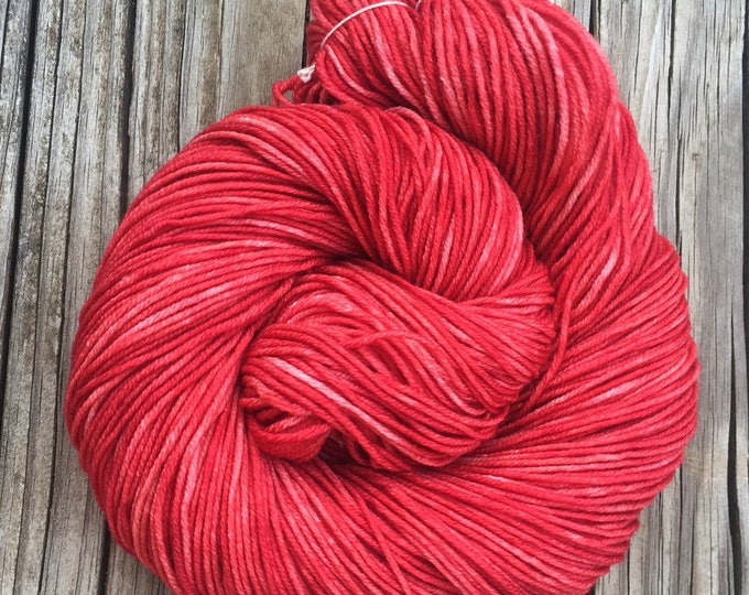 Hand Dyed DK Yarn Captain Blood Red Hand Painted yarn 274 yards handdyed dk sport weight Superwash Merino Wool swm coral rose brick red