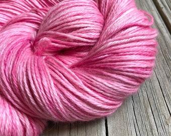 Hand Dyed Treasured DK Luxe Yarn Damsel in Distress pink cotton candy yarn 246 yards baby alpaca silk cashmere luxury yarn sport weight