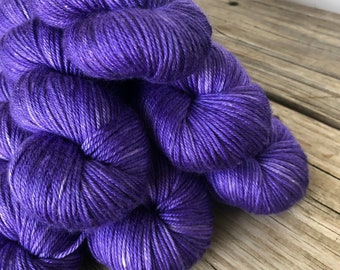 lilac purple Hand Dyed DK Yarn, silk merino yarn, Avast ye Wildcats, Silken Purls