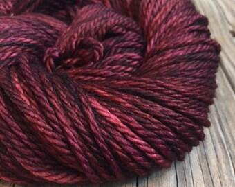 You Had Me At Merlot Hand Dyed Bulky Yarn burgandy red wine 100% superwash merino wool 106 yards bulky weight yarn ready to ship yarn
