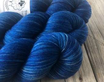 Hand Dyed YAK Sock Yarn, Royal Blue, Swimmin with the Fishes, Treasured Yak Toes