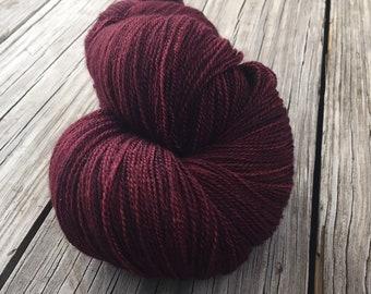 Blood Rubies hand dyed lace weight yarn Silk Treasures Lace Yarn merino semisolid lace yarn 875 yards dark burgandy rich cabernet wine