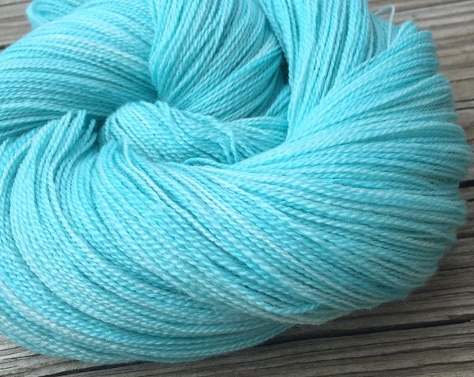 hand dyed lace weight yarn Kiss From a Mermaid Silk Treasures Lace yarn merino silk 875 yards hand dyed yarn turquoise ready to ship yarn