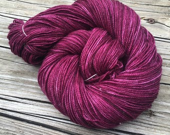 Sparkle Sock Yarn Song of the Sirens Hand Dyed Painted cranberry maroon 438 yards superwash merino nylon stellina ready to ship yarn