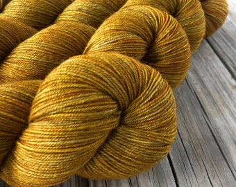 Hand Dyed YAK Sock Yarn, goldenrod, Tarnished Brass, Treasured Yak Toes