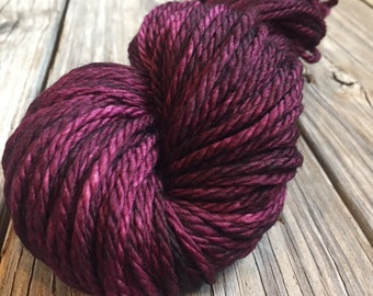 Feelin Fine with Blackberry Wine Hand Dyed Bulky Yarn burgandy red wine 100% superwash merino wool 106 yards bulky weight yarn ready to ship