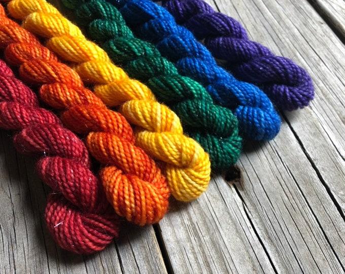 Rainbow sparkle sock yarn mini skein gradient set 168 yards Sparkle Toes miniskein set