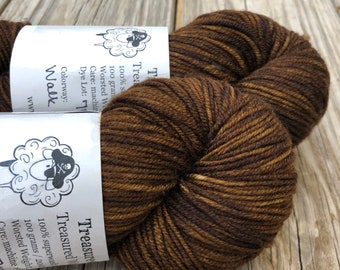 chocolate brown Hand Dyed Worsted Weight Yarn, Walk the Plank, Treasured Warmth