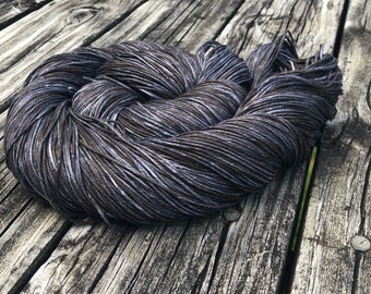 Shipwreck Colorway Hand Dyed Pure Silk Fingering Weight Yarn 100% mulberry silk 436 yards ready to ship charcoal gray black yarn