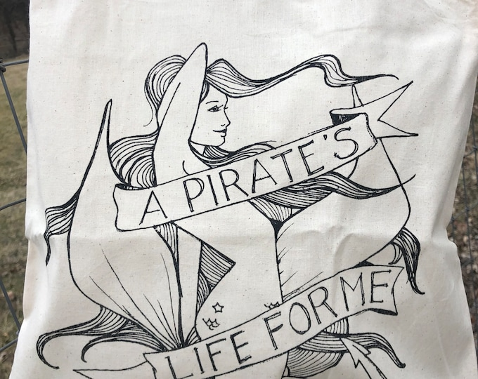 Featured listing image: Pirate's Life For Me Tote Bag   screen printed mermaid pirate tote bag   cotton canvas tote bag