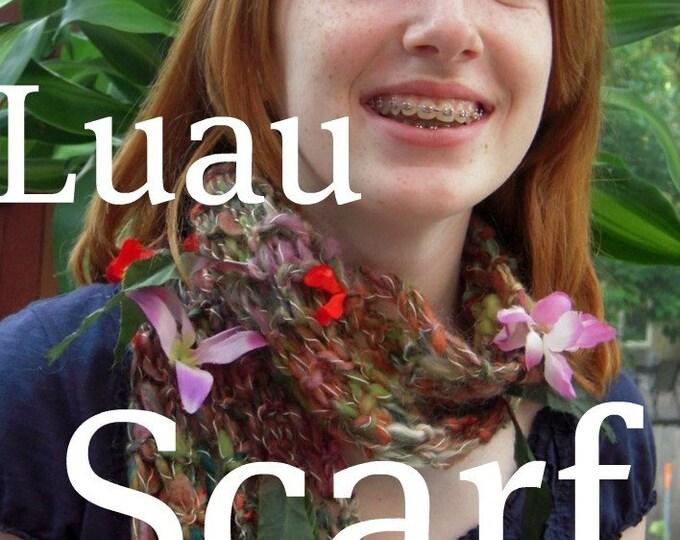 PDF Luau Scarf Handspun art yarn knitting pattern download by TreasureGoddess artyarn SELL items knit from this