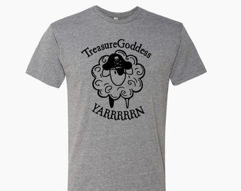 Treasure Goddess Pirate Sheep YARRRRRN tri blend t-shirt, knitter shirt, crocheter shirt, spinner shirt, treasuregoddess