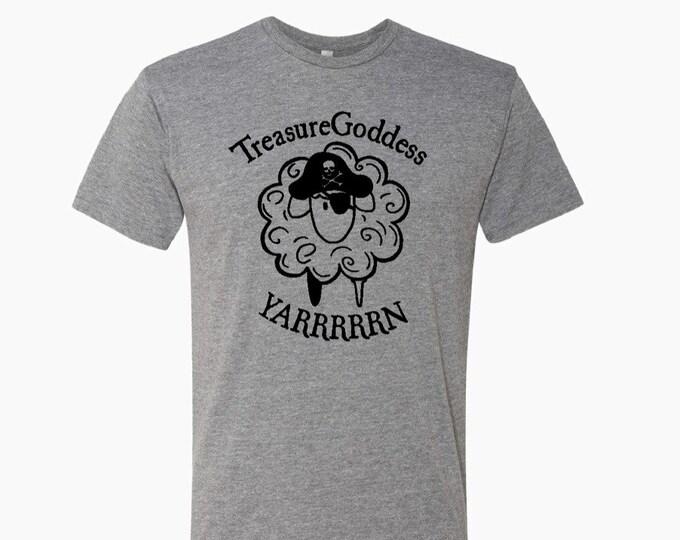 Treasure Goddess Pirate Sheep YARRRRRN tri blend t-shirt, knitter shirt, crocheter shirt, spinner shirt, treasuregoddess