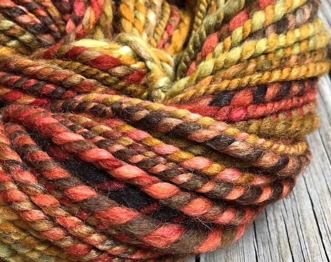 Autumn Handspun yarn Soft Wool and Tencel Yarn Bulky Weight olive green rust pumpkin orange red chocolate brown Two Ply 2 Ply 59 yards