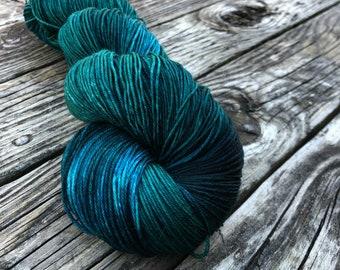 Hand Dyed Sock Yarn Thar Be Sea Monsters Hand Painted teal yarn 463 yards superwash merino nylon fingering weight Treasured Toes swm
