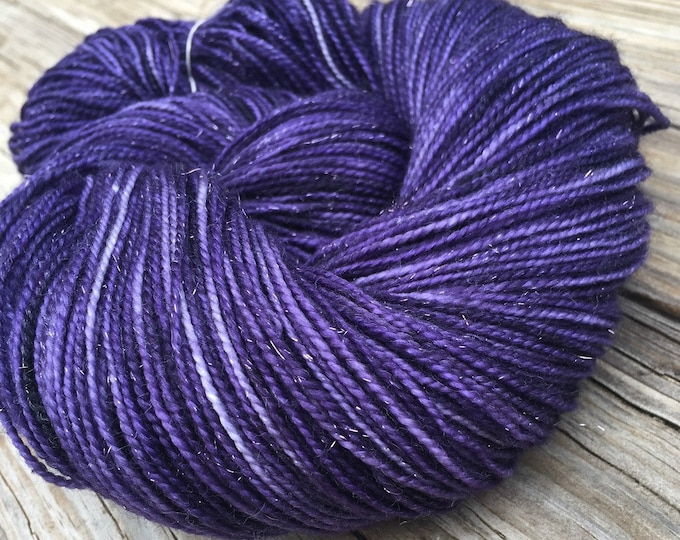 Sparkle Sock Yarn the King's Cloak Royal Purple Hand Dyed 438 yards superwash merino nylon stellina fingering swm ready to ship yarn
