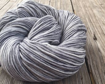 Pieces of Eight Silver Hand Dyed Worsted Weight Yarn Hand Painted yarn 218 yards Superwash Merino Wool treasure goddess swm gray grey