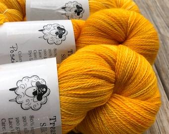 Hand Dyed Lace Weight Yarn | Yellowstone Gold Yellow Lace Yarn | Silk Treasures Lace | silk super fine merino wool | 875 yards