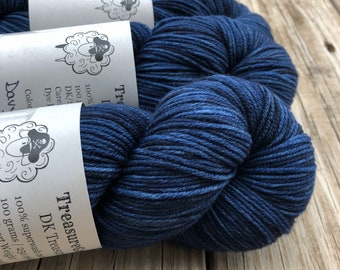 Navy Blue Hand Dyed DK Yarn, Davy Jones' Locker, DK Treasures