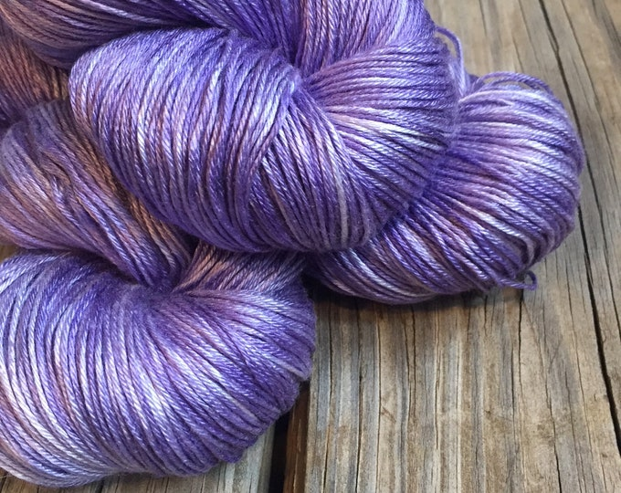 Hand Dyed Pure Silk Fingering Weight Yarn 100% mulberry silk Avast ye Wildcats purple lilac lavender sock yarn 436 yards ksu ready to ship