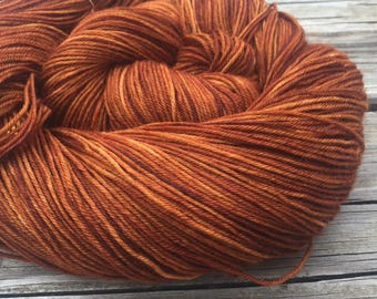 Hand Dyed Sock Yarn Copper Cove Painted 463 yards superwash merino nylon pumpkin orange rust fingering Treasured Toes ready to ship yarn