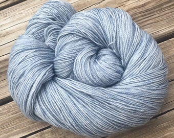 Sparkle Sock Tempest Light Gray Blue Hand Dyed Hand Painted sky sea blue sockyarn 438 yards superwash merino nylon stellina fingering